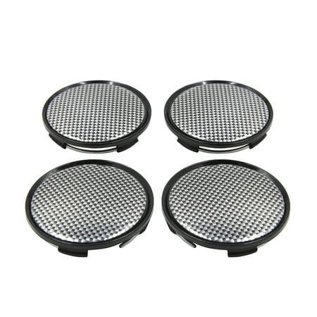 4pcs Black Carbon Fiber Pattern 63mm Dia 4 Clips Wheel Tyre Center Hub Cap - Ritchey Carbon Wheels