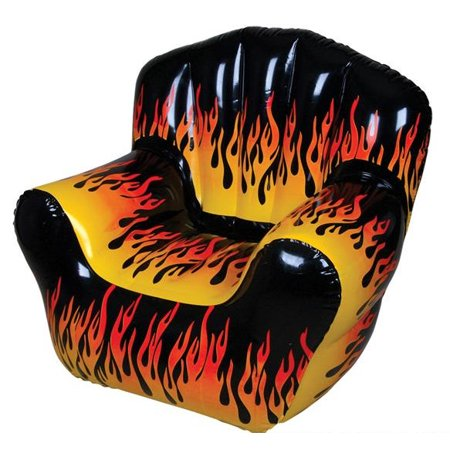 Flame Print Inflatable Chair Furniture Blow Up Fire Hot Rod Novelty Room