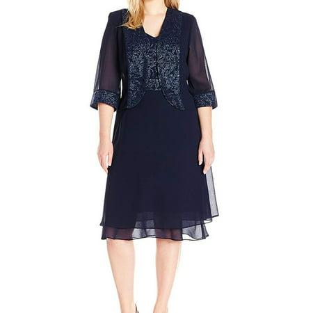 Le Bos Navy Womens Plus Shimmer Jacket Sheath Dress