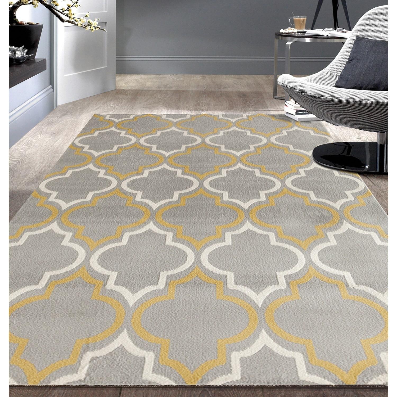 Modern Moroccan Trellis Grey/ Yellow Area Rug or Runner