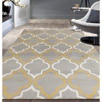 Product Image Modern Moroccan Trellis Grey Yellow Area Rug Or Runner