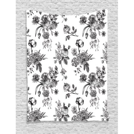 Black and White Tapestry, Vintage Floral Pattern Victorian Classic Royal Inspired New Modern Art, Wall Hanging for Bedroom Living Room Dorm Decor, Black and White, by Ambesonne