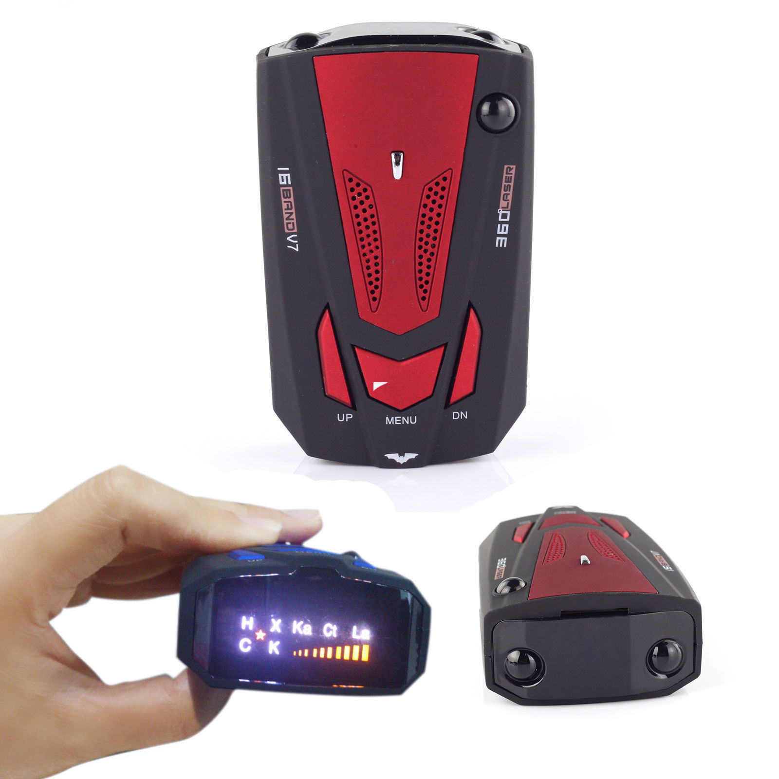 Car Radar and Laser Detector, 16 Band Laser/Radar Detector Voice Alert Car Speed Alarm System with 360 Degree Detection, City/Highway Mode, Bright LED Display