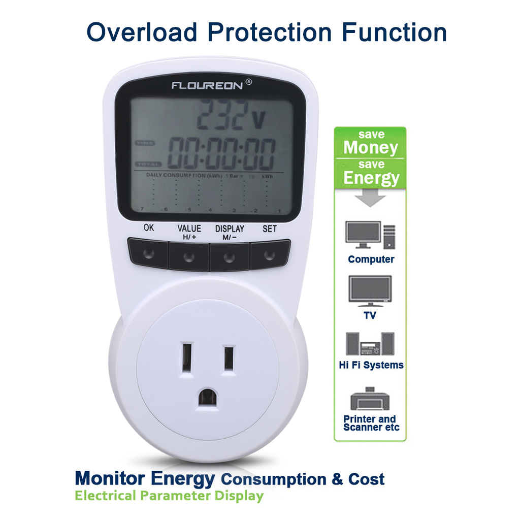 Floureon Power Meter Socket, AC 120V 13A Energy Socket Energy Monitor with Digital LCD Display For Power Consumption Cost Meter Watt Voltage Amp Meter Calculator Analyzer