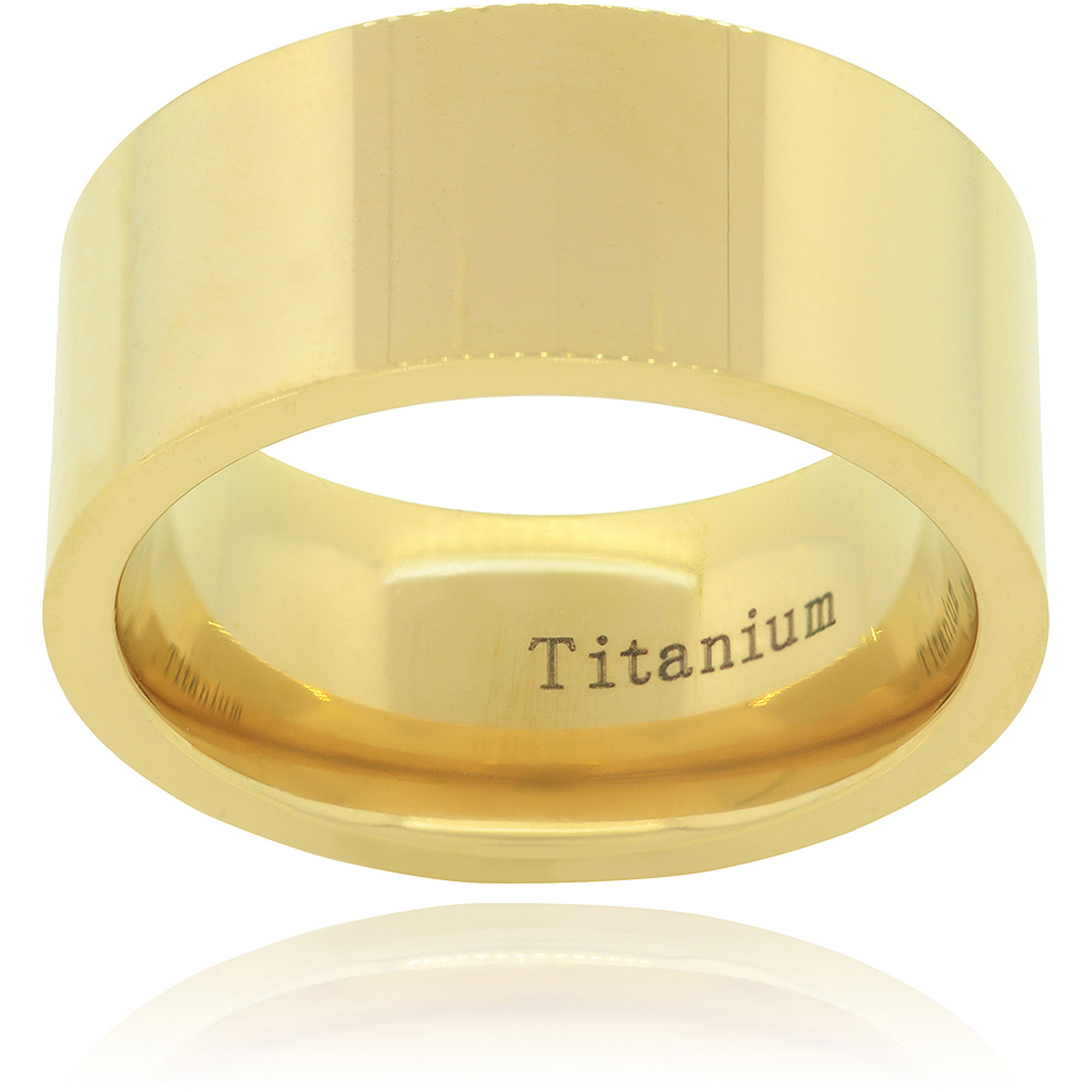Daxx Men's Titanium Yellow Gold Pipe-Cut Fashion Ring