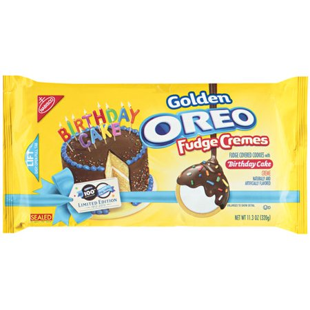 Nabisco Oreo Golden Birthday Cake Fudge Cremes Sandwich Cookies, 11.3 ...