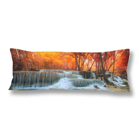 GCKG Beautiful Waterfall Autumn Forest Fall Tree Leave Body Pillow Covers Case Pillowcase 20x60 inches Couch - image 2 of 2