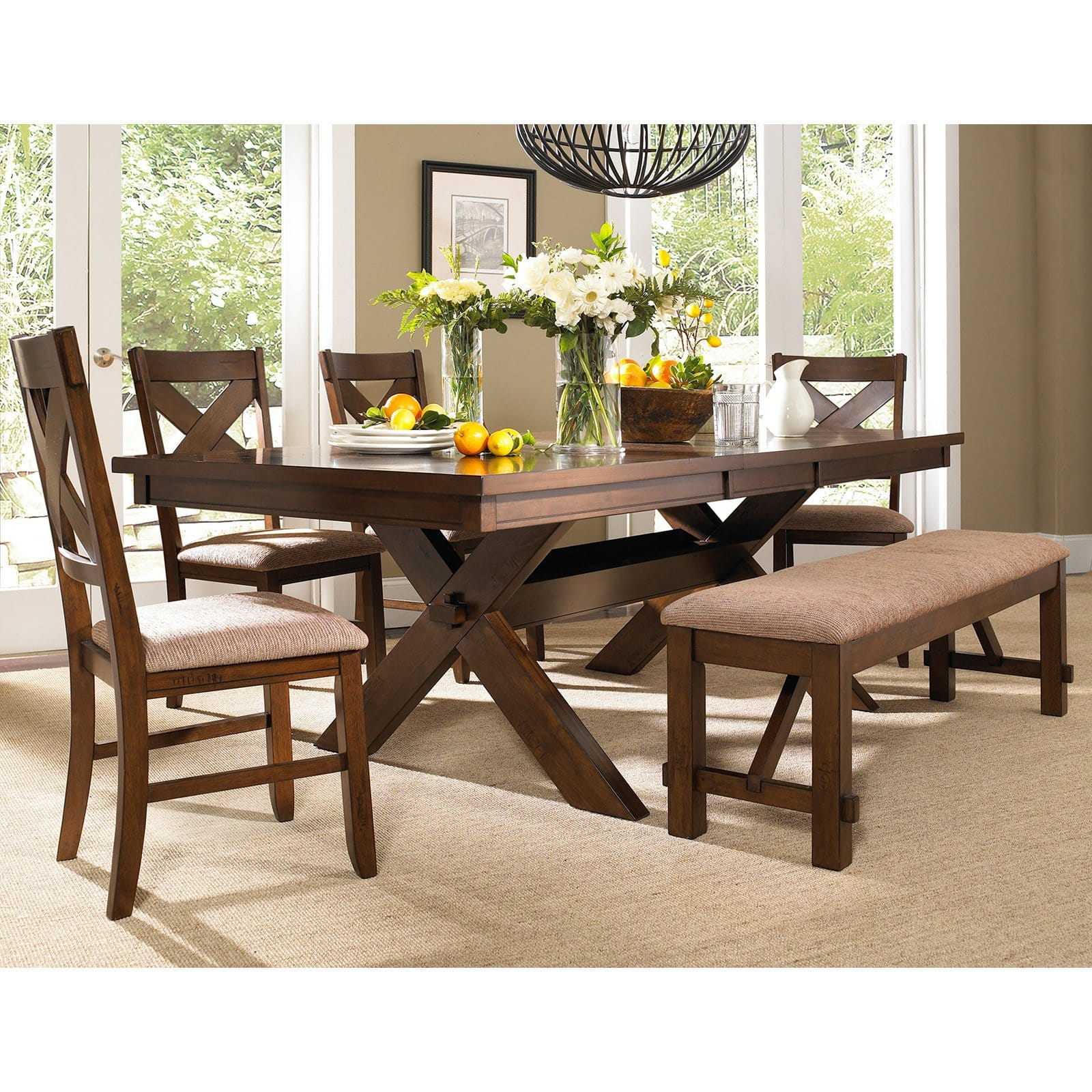 6 Piece Karven Solid Wood Dining Set, Dining Room Table With 4 Chairs And A Bench