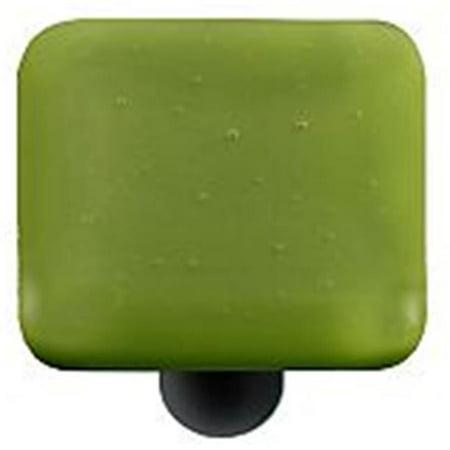 Olive Green Square Glass Cabinet Knob - Black Post - image 1 de 1