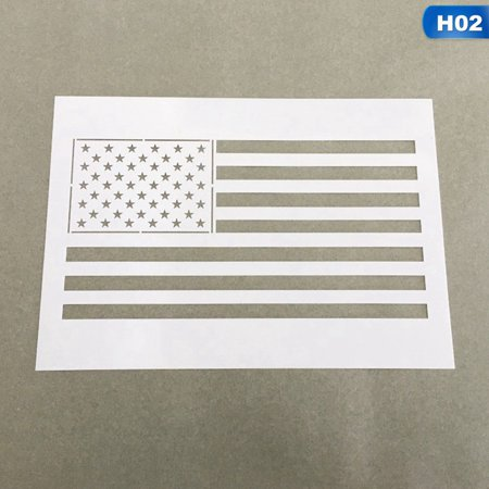 KABOER 2Pcs USA Flag 50 Star Stencil Template Reusable for Painting on Wood Beauty (Craft International Stencil)