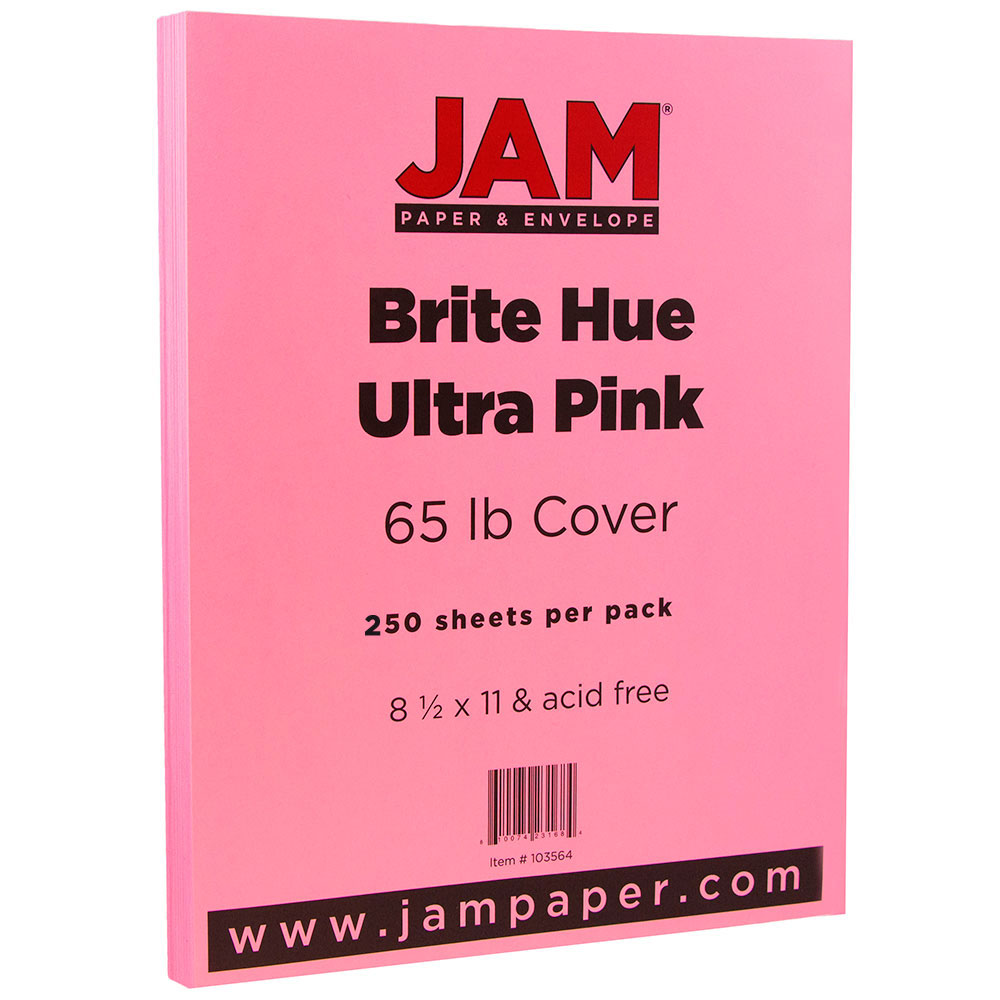 JAM Paper Bright Colored Cardstock, 8.5 x 11, 65 lb Brite Hue Ultra Pink, 250 Sheets/Pack