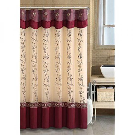 VCNYR Luxurious Daphne Embroidered Sheer Taffeta Fabric Shower Curtains By GoodGramR