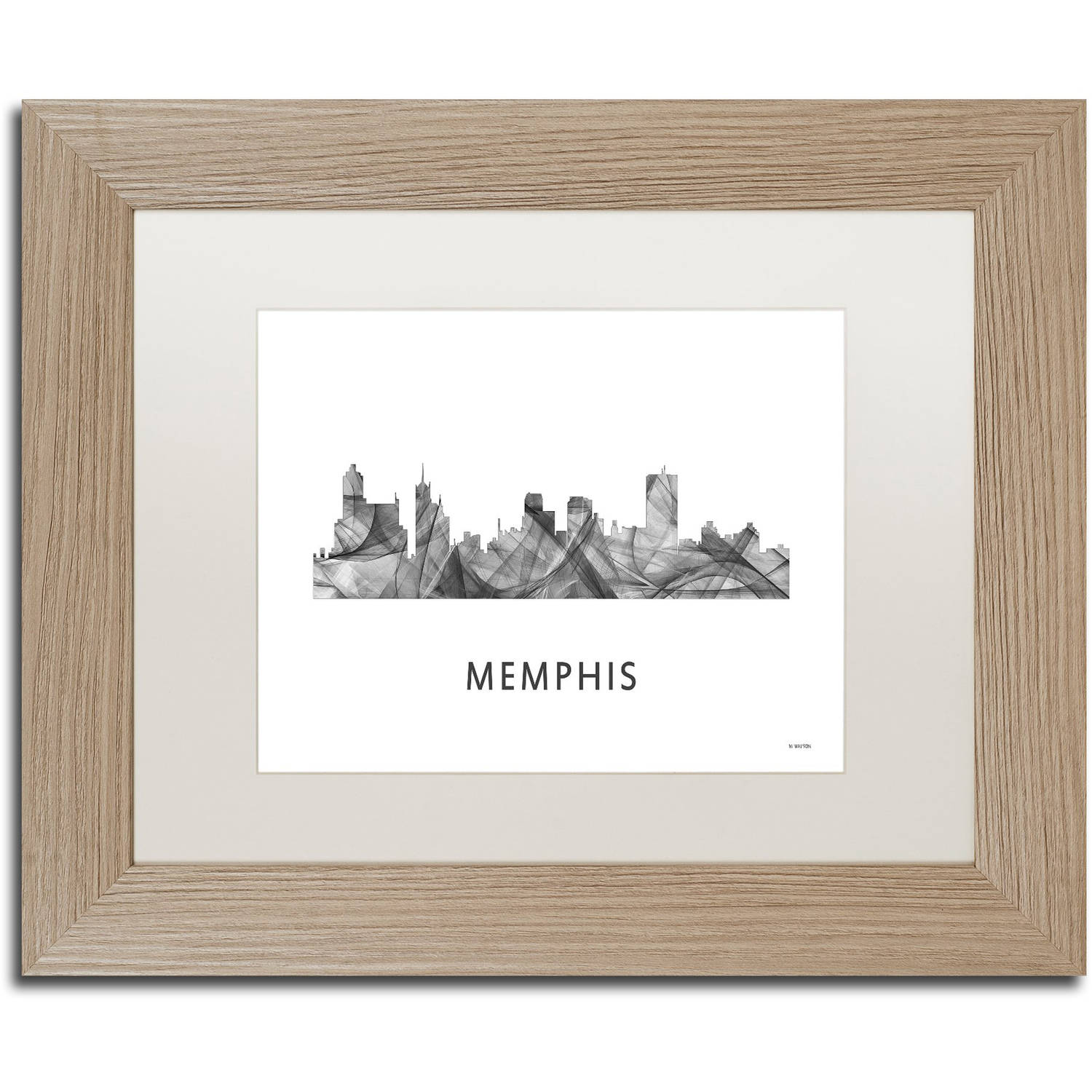 Trademark Fine Art 'Memphis Tennessee Skyline WB-BW' Canvas Art by Marlene Watson, White Matte, Birch Frame