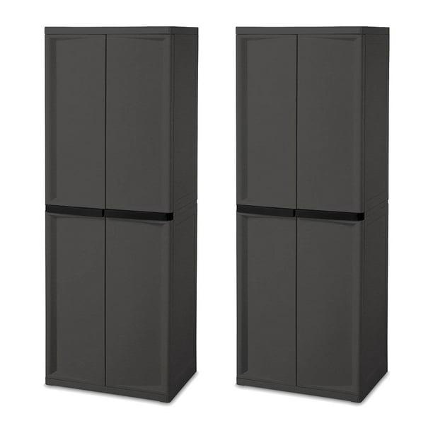 Sterilite Adjustable 4 Shelf Gray, Sterilite Storage Cabinets With Doors And Shelves