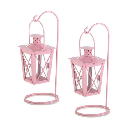 Small Lanterns Decorative, Railroad Duo Outdoor Small Hanging Lanterns,  Pink