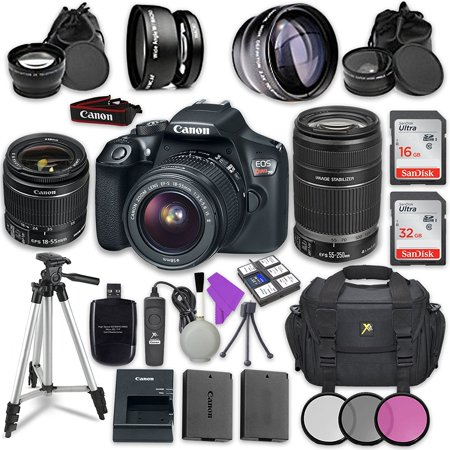 Canon EOS Rebel T6 DSLR Camera with Canon EF-S 18-55mm f/3.5-5.6 IS II Lens + Canon EF-S 55-250mm f/4-5.6 IS (Image Stabilizer) II Lens + Accessory