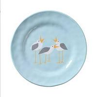 "Merritt - Melamine Round Salad Plate - Seagulls - 8.5"""