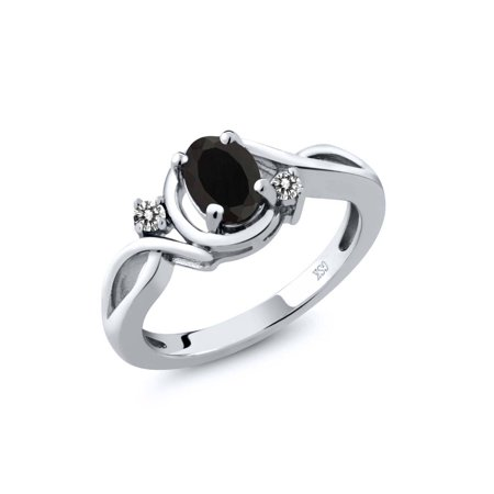- 0.87 Ct Oval Black Onyx White Diamond 925 Sterling Silver Ring