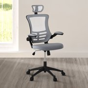 Techni Mobili Modern High-Back Mesh Executive Office Chair with Headrest and Flip-Up Arms, Silver Grey (RTA-80X5)