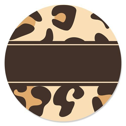 Leopard - Party Circle Sticker Labels - 24 Count