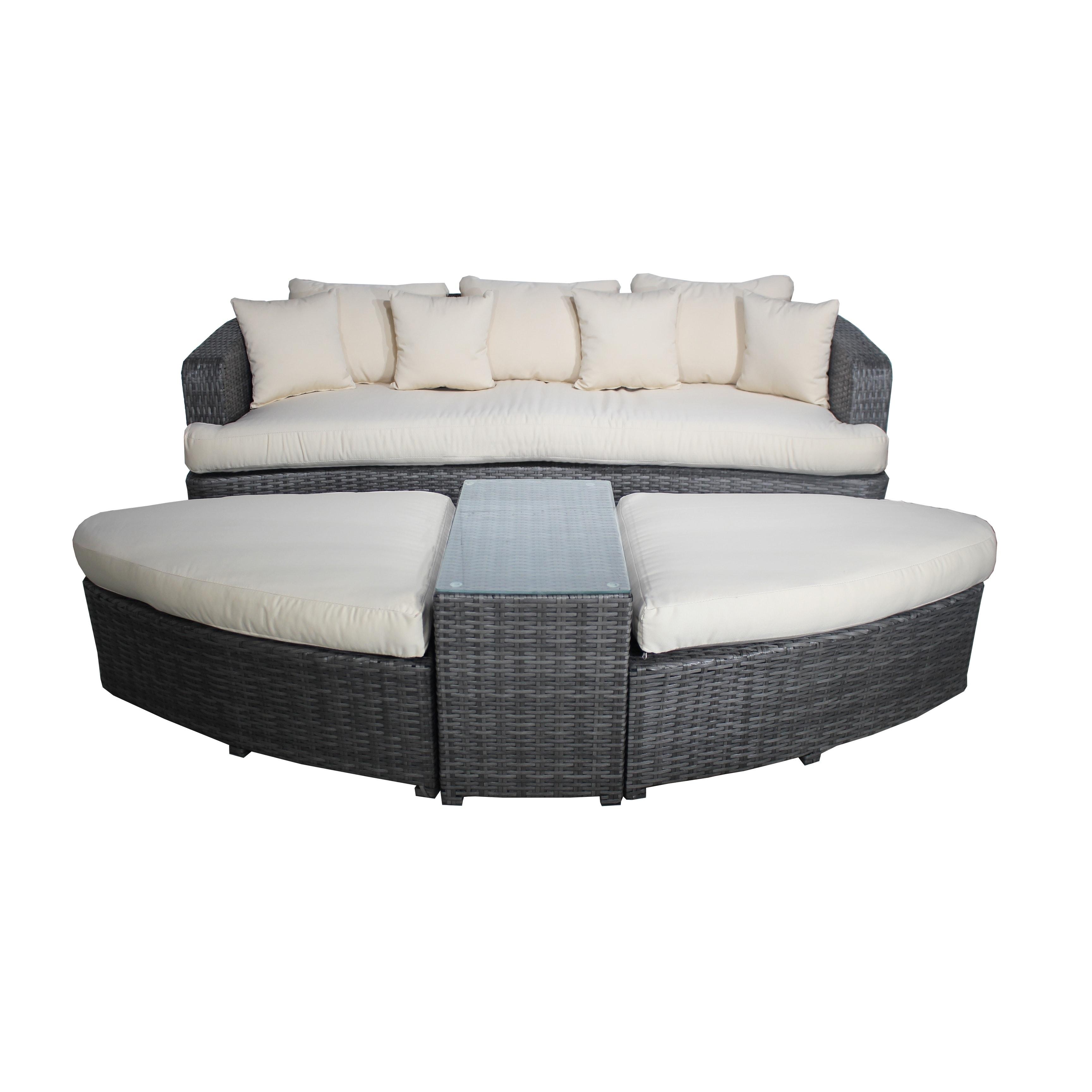 Outdoor Paradise Cove Designs Sarasota Resin Wicker Deep Seating Patio Sofa Set Cream White - 8015105