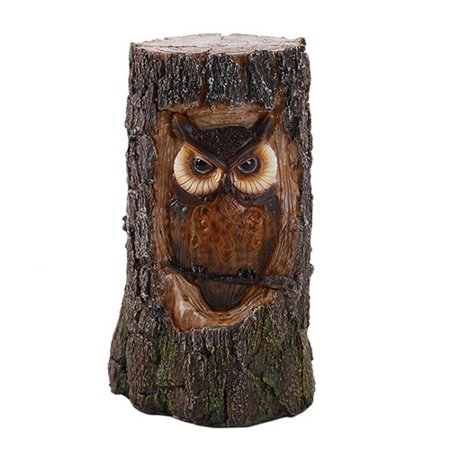 Celtic Horn - Celtic Ancient Forest Great Horned Owl In Carved Bark Look LED Night Light Figurine