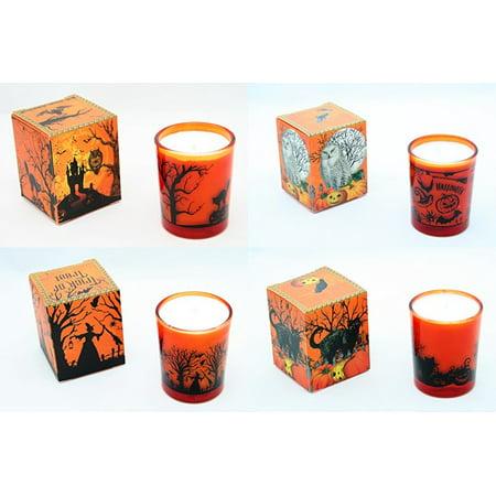 Soy Wax Votive - Michel Design Halloween 2 Oz. Soy Wax Votive Candle 4 Pc. Set - Spooky House, Witch, Black Cat, Owl