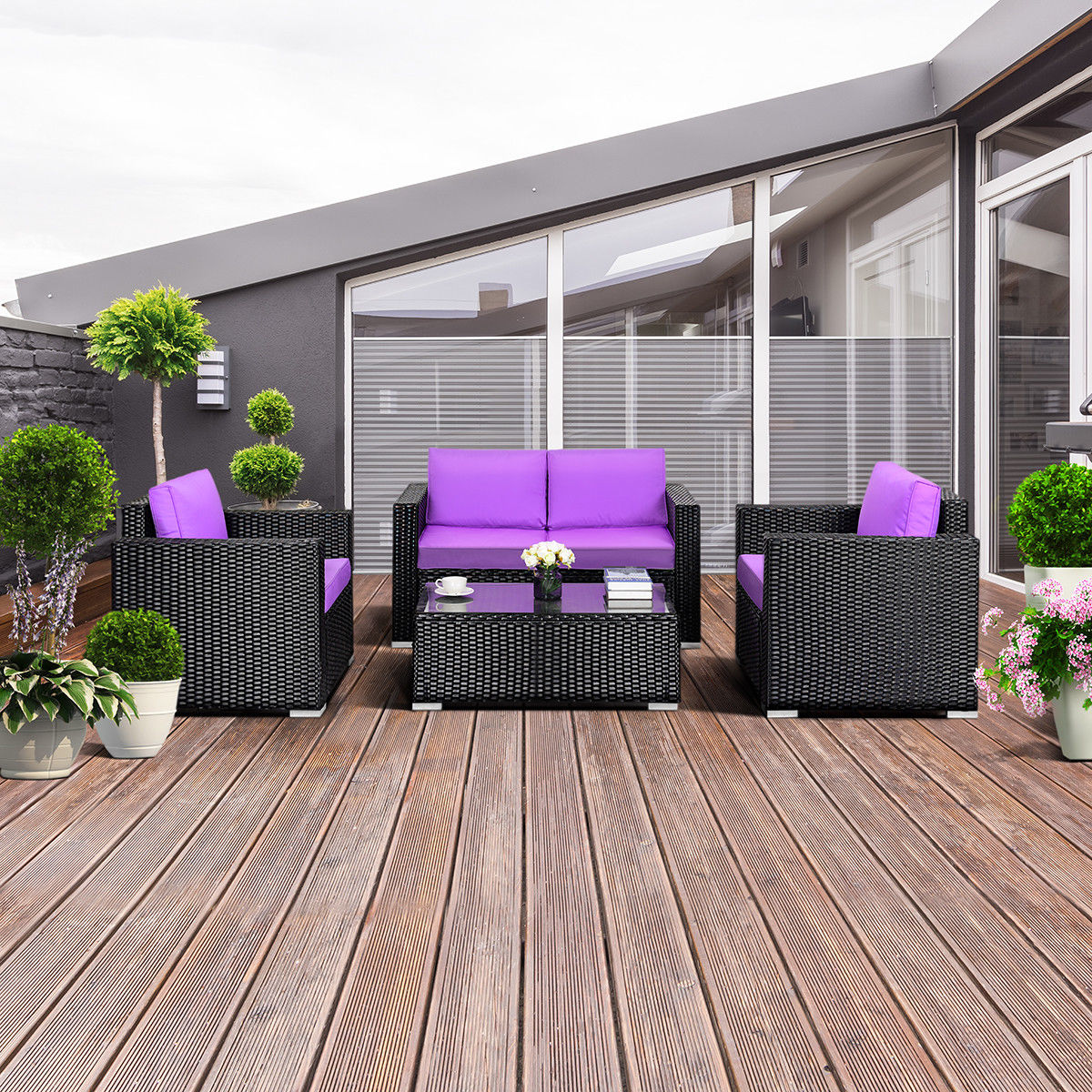 Gymax 4PC Rattan Patio Furniture Set Outdoor Rattan Wicker ...