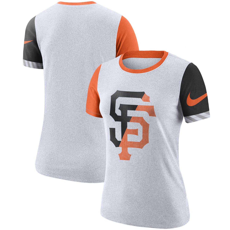 San Francisco Giants Nike Women's Slub Two-Tone Logo Crew Neck T-Shirt - White