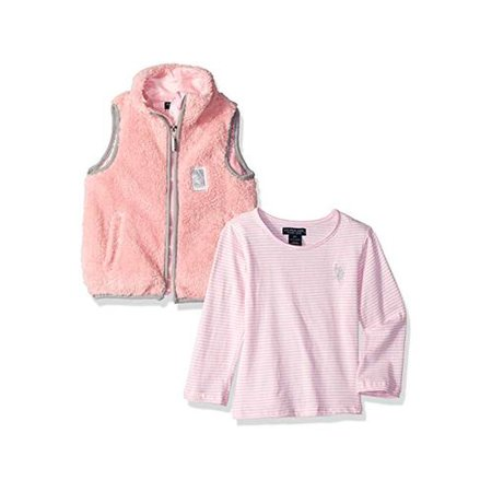U.S. Polo Assn. Girls' Little Fashion Top and, Fuzzy Fleece Vest Rose, Size 6X Fashion Fleece Vest
