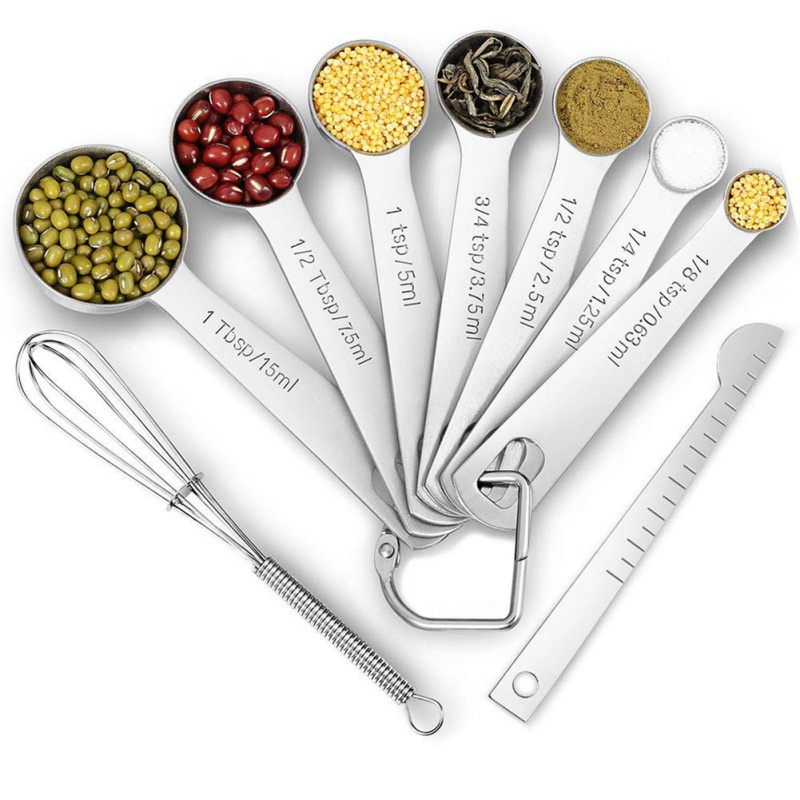 AG/_ 11Pcs Kitchen Stainless Steel Measuring Spoons Cup Cooking Baking Scale Scoo
