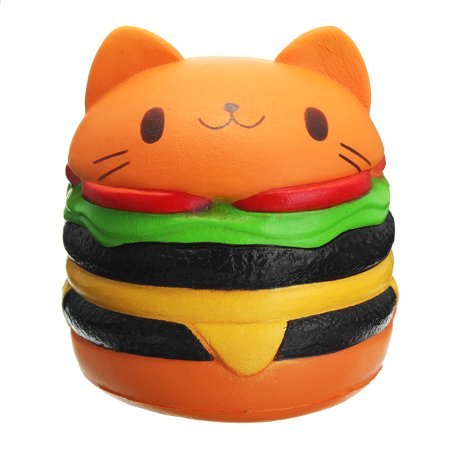 Hamburger Plush - Sanqi Elan Squishy Cute Hamburger Cat Slow Rising Cartoon Scented Bread Soft Fun Toy Stress Reliever Toy Decor 11X10CM