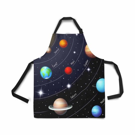 ASHLEIGH Solar System Orbit Sun Earth Mar Twinkling Night Sky Stars Adjustable Bib Apron for Women Men Girls Chef with Pockets Kitchen Apron for Cooking Baking Gardening Pet Grooming Cleaning