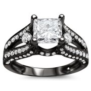 Noori Collection Noori 18k Black Gold 2 ct TDW Certified Princess-cut Enhanced Diamond Engagement Ring