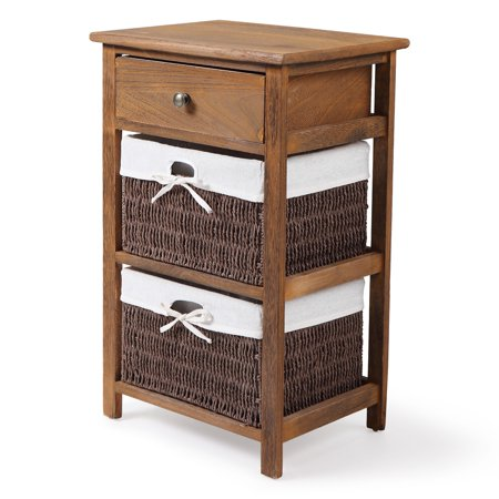 Jaxpety End Side Bedside Table Nightstand Organizer with 2 Wicker Storage Baskets Carved Drawer, Baked Color ()