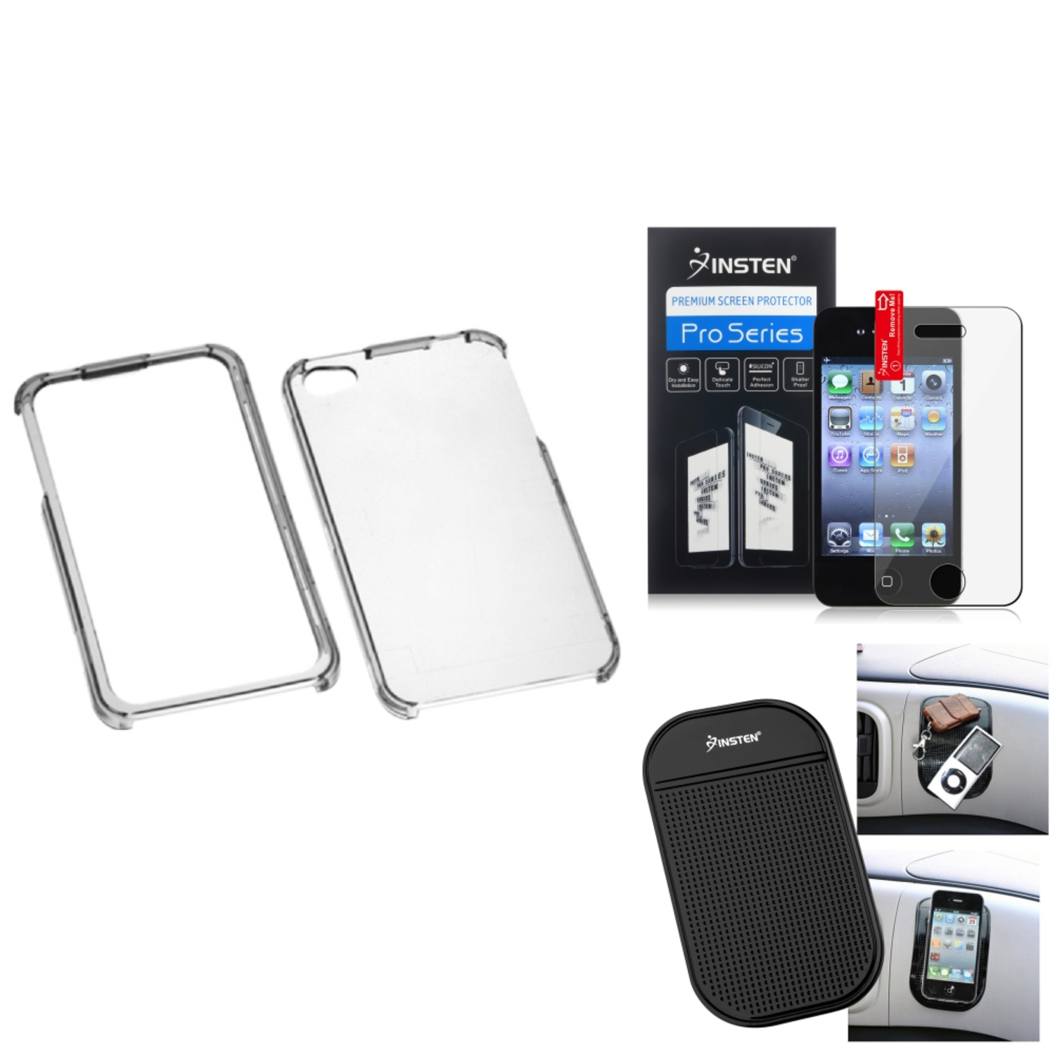 Insten Film+Mat+T-Clear Phone Protector Case Cover For Apple iPhone 4G 4S