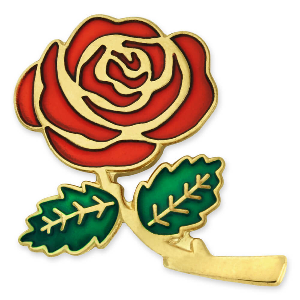 PinMart's Colored Red Rose Flower Enamel Lapel Pin 1""