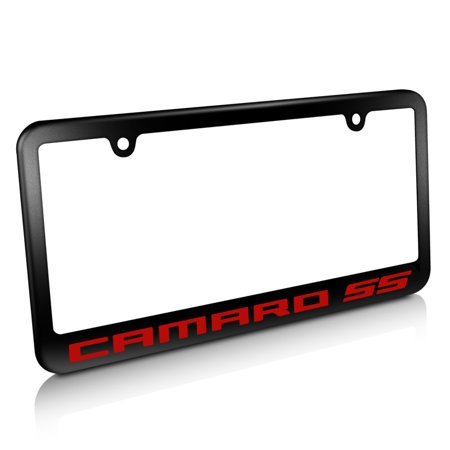 Camaro SS in Red Matte Black Metal License Plate Frame
