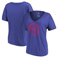 Detroit Pistons Let Loose by RNL Women's Distressed Primary Logo V-Neck T-Shirt - Heathered Royal