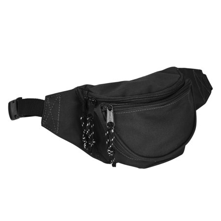 Fanny Pack w/ 3 Pockets Traveling Belt Pouch Waist Wallet Concealer Black