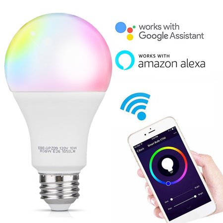 TSV WiFi Enabled 10W E26 Smart APP Control Timer Function RGB Multi-Color Changing LED Light Bulb Compatible with Amazon Alexa Google Home