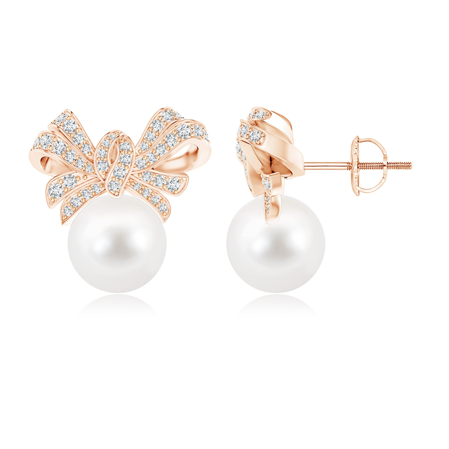 June Birthstone FreshWater Cultured Pearl Bow Earrings with Diamond Accents in 14K Rose Gold (10mm Freshwater Cultured... by Angara.com