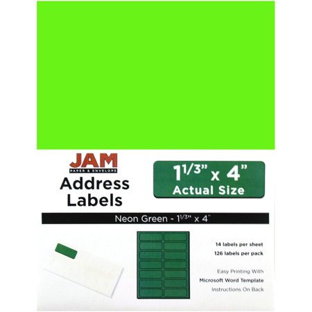 JAM Paper Mailing Address Labels, 1 1/3 x 4, Neon Green,