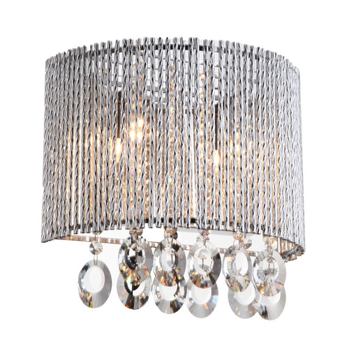 Bromi Design Crystalline Round 2 Light Crystal Wall Sconce