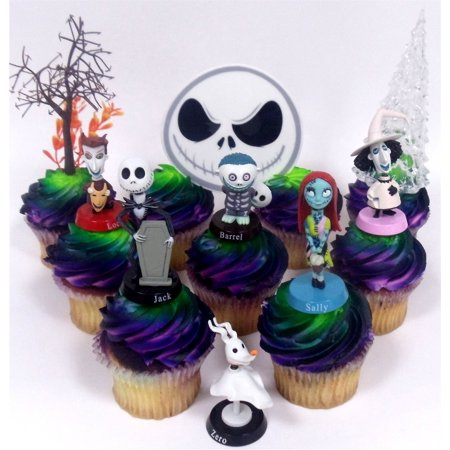 Nightmare Before Christmas 10 Piece Deluxe Cupcake Topper Set Featuring Zero Barrel Lock Shock Sally Jack Skellington and Other Decorative Themed Accessories - Cake Topper Figures Range from 2