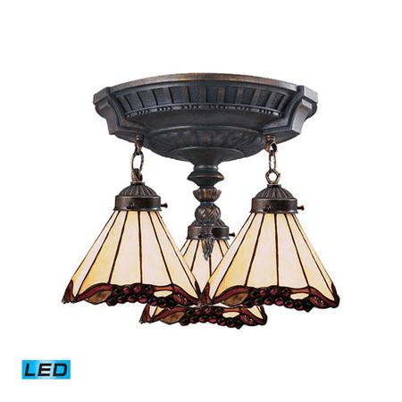 Semi Flush 3 Light LED With Aged Walnut Finish Tiffany 03 Glass 14 inch 40.5 Watts - World of (Walnut Finish Lcd)