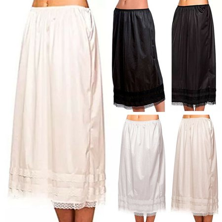 3da540037d6744 2038711 - Women Elastic Waist Lace Skirt Vintage A-line Loose Solid Pleated  Longuette Long Skirt Swing Plus Size - Walmart.com