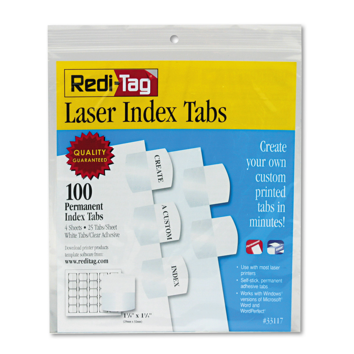 Redi-Tag Laser Printable Index Tabs, 1 1/8 Inch, White, 100/Pack