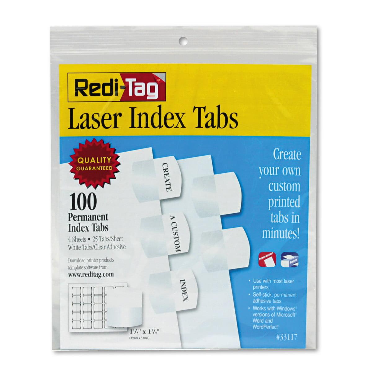 Redi-Tag Laser Printable Index Tabs, 1 1/8 Inch, White, 100/Pack