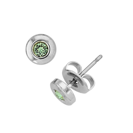 X & O Rhodium Plated Bezel Post Earring With Swarovski Crystals in -
